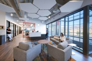 Electro Rent office lobby workspace by Unisource Solutions